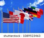 g7 flags silk waving flags of... | Shutterstock . vector #1089523463