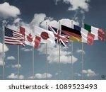 g7 flags silk waving flags of...   Shutterstock . vector #1089523493