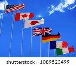 g7 flags silk waving flags of...   Shutterstock . vector #1089523499