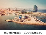 barcelona aerial view  spain.... | Shutterstock . vector #1089525860