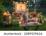 open air cinema with retro... | Shutterstock . vector #1089529616
