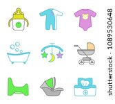 childcare color icons set.... | Shutterstock .eps vector #1089530648