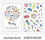 card templates with hand drawn... | Shutterstock .eps vector #1089536030