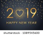 2019 happy new year text for... | Shutterstock .eps vector #1089545600