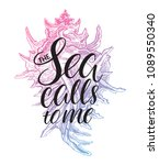 the sea calls to me. cute... | Shutterstock .eps vector #1089550340