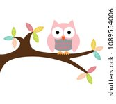 owl on a branch | Shutterstock .eps vector #1089554006
