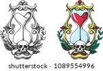 tattoo sketch. the hourglass...   Shutterstock .eps vector #1089554996
