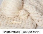 a ball of thick yarn and a... | Shutterstock . vector #1089555044