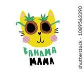 vector illustration  cute cat... | Shutterstock .eps vector #1089563390