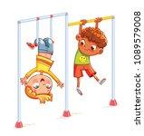 kids train on horizontal bars.... | Shutterstock .eps vector #1089579008