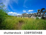 heap of concrete drainage pipes ... | Shutterstock . vector #1089585488