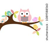 owl on a branch with birds | Shutterstock .eps vector #1089588560