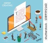 content creating flat isometric ... | Shutterstock .eps vector #1089592160