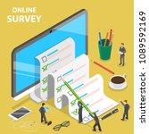 Online Survey Flat Isometric...