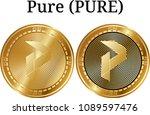 set of physical golden coin... | Shutterstock .eps vector #1089597476