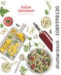 italian cuisine top view... | Shutterstock .eps vector #1089598130