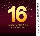 16 years anniversary.... | Shutterstock .eps vector #1089602753