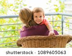 happy grandmother with grandson ... | Shutterstock . vector #1089605063