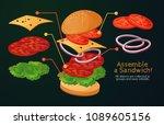 fast food  american food ... | Shutterstock .eps vector #1089605156