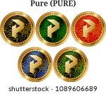 set of physical golden coin... | Shutterstock .eps vector #1089606689