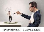 huge businessman starting to...   Shutterstock . vector #1089615308