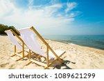 deck chairs on beach | Shutterstock . vector #1089621299