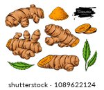 turmeric root vector hand drawn ... | Shutterstock .eps vector #1089622124