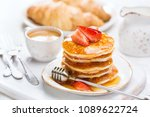 homemade pancakes with fresh... | Shutterstock . vector #1089622724