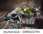 basket with apples on a dark... | Shutterstock . vector #1089622754