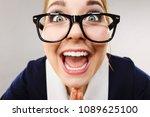 crazy bizarre business woman or ... | Shutterstock . vector #1089625100