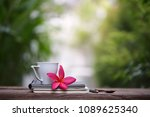 white cup with frangipani... | Shutterstock . vector #1089625340