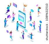 isometrics teenagers in bright... | Shutterstock .eps vector #1089632510