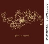 floral ornament over dark... | Shutterstock .eps vector #1089636179