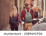 back view of a young hipster... | Shutterstock . vector #1089641936