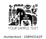 swedish dala horse pattern ... | Shutterstock .eps vector #1089651629