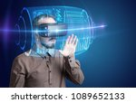 amazed businessman with high... | Shutterstock . vector #1089652133