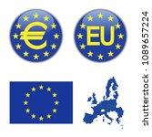europe icons  flag of europe... | Shutterstock .eps vector #1089657224