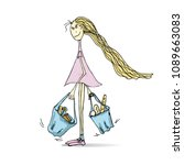 cute cartoon girl with bags on... | Shutterstock .eps vector #1089663083