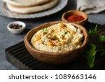 hummus chickpea in bowl.... | Shutterstock . vector #1089663146