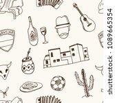 argentina hand drawn doodle... | Shutterstock .eps vector #1089665354