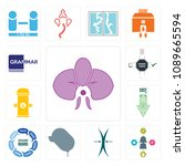 set of 13 simple editable icons ...   Shutterstock .eps vector #1089665594