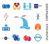 set of 13 simple editable icons ... | Shutterstock .eps vector #1089665600