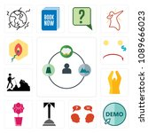 set of 13 simple editable icons ... | Shutterstock .eps vector #1089666023