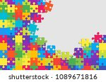 puzzle background  banner ... | Shutterstock .eps vector #1089671816