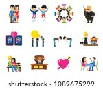 people icon set. family showing ... | Shutterstock .eps vector #1089675299