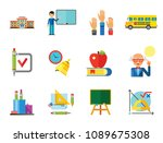 school icon set. school pencil... | Shutterstock .eps vector #1089675308