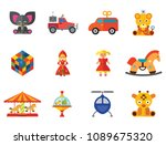 toys icons set with rubics cube ... | Shutterstock .eps vector #1089675320