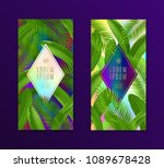 tropical leaves banners with...   Shutterstock .eps vector #1089678428