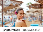sunscreen woman. girl putting... | Shutterstock . vector #1089686510