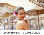 beautiful young woman in bikini ... | Shutterstock . vector #1089686528